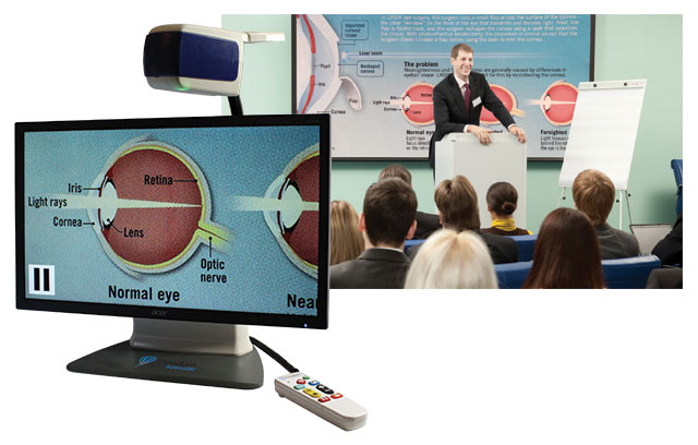 ONYX Deskset HD magnifying a chart displayed during a presentation