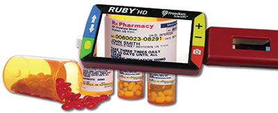 RUBY HD magnifying a pill bottle label