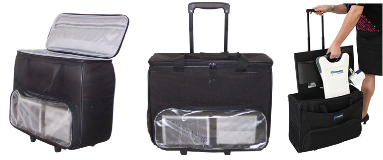 The ONYX Deskset HD 20-inch and 22-inch rolling carrying case with handle collapsed and top open