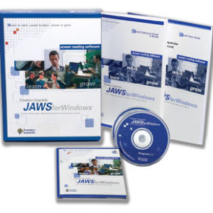 JAWS for Windows software box with contents spread in foreground. Blue packaging and manuals on white background and blue CD