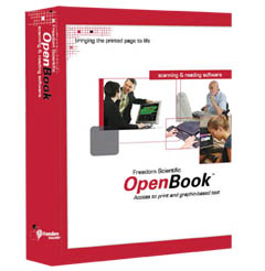 OpenBook software box OpenBook scanning and reading software box. Red on a white background. Images of people in business and school settings