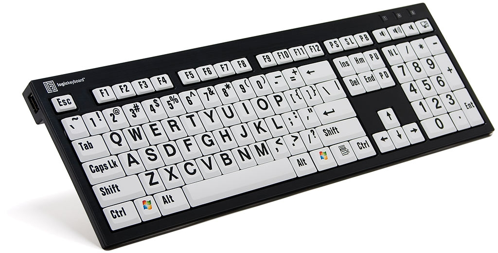 XL Print NERO PC Slim Line Black on White Keyboard