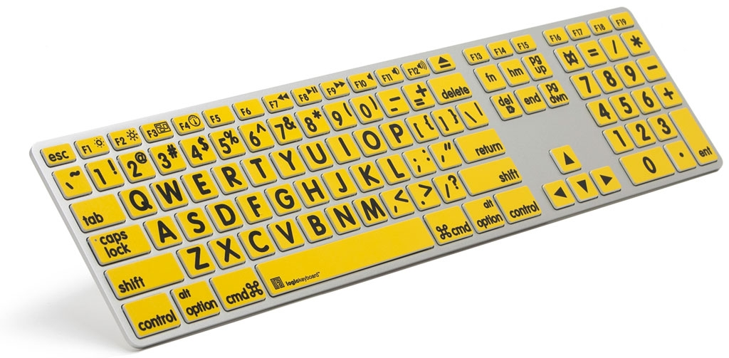 XL Print - Black on Yellow Apple Advance Keyboard