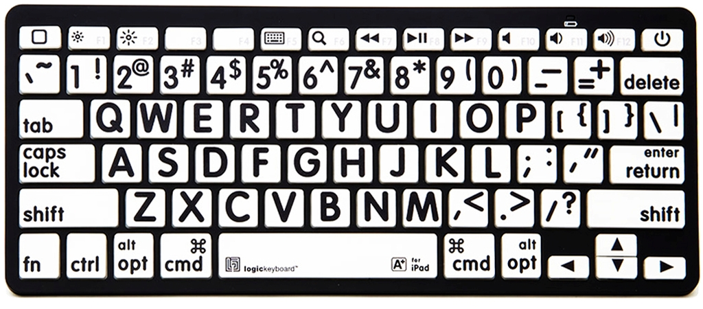 XL Print – Black on White Bluetooth Mini Keyboard
